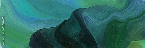 beautiful futuristic banner with sea green, teal blue and very dark blue color. abstract waves design