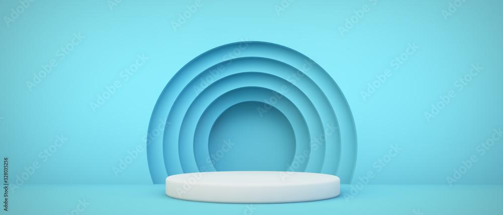 Fototapeta blue podium with circles background