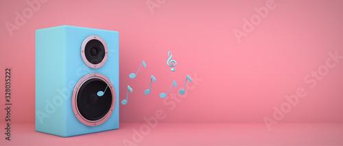 Obraz blue speaker pink background - fototapety do salonu