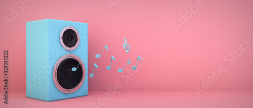 Valokuva blue speaker pink background
