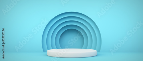 Fotografía blue podium with circles background