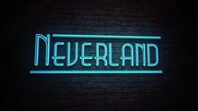 NEVERLAND Neon Blue Sign On Da...