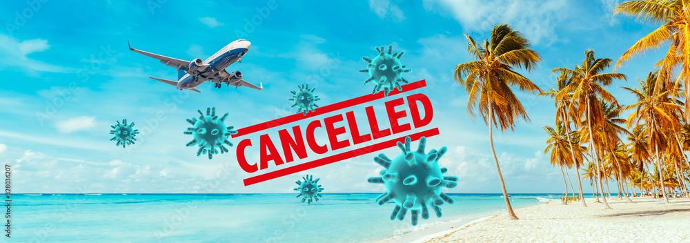 Fototapeta Cancellation of flights by the Coronavirus.
