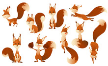 Cute Cartoon Squirrels. Sweet Friendly Animals. Vector Illustration With Simple Gradients. Funny Forest Wild Animals Running Standing, Walking And Jumping. Clip Art Collection