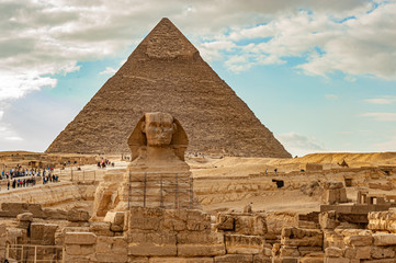 Sphinx and Khufu pyramid in Egypt