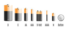 Realistic Battery Set With Dif...
