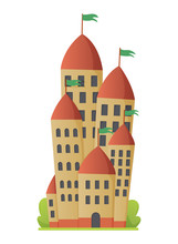 Flat Vector Fairy Tale Castle. Medieval Palace With High Towers And Conical Roofs. Fortress Or Stronghold With Fortified Wall And Towers