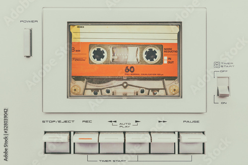 Stampa su Tela Retro styled image of a vintage audio cassette player