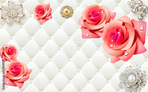 Do pokoju   3d-mural-illustration-background-with-golden-pearl-jewelry-butterfly-and-flowers-circles-decorative-art-wallpaper
