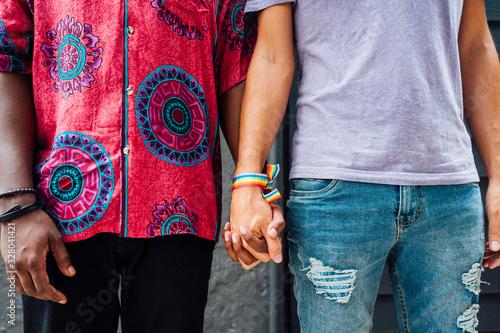 Fotomural Couple of men holding hands