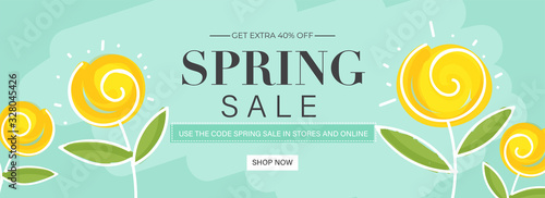 Obraz Spring Sale Header or Banner Design with Get Extra 40% Off and Yellow Flowers on Pastel Turquoise Background. - fototapety do salonu