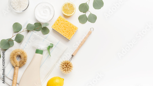 Photo Set of eco friendly natural cleaning products