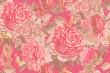 Garden Flowers Pink Peonies, Gold Butterfly And Cute Birds. Floral Seamless Pattern.