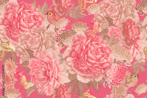Garden flowers pink peonies, gold butterfly and cute birds Canvas Print