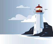 Illustration Of Lighthouse On Ocean Coast Rock