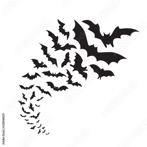 Flying bats group isolated on white background. Black night bat silhouettes