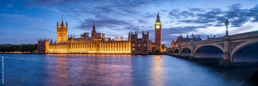 Fototapeta Panoramic view of the Palace of Westminster and Big Ben