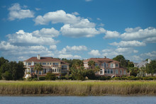 Two Massive Homes With A Marsh View Along A Salt Water Channel