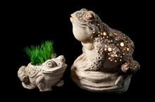 Garden Decorations, Frog Shaped Plant Vase And Frog Shaped Garden Lantern