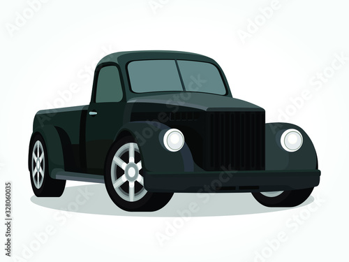 detailed body and rims of a flat colored car cartoon vector illustration Wallpaper Mural