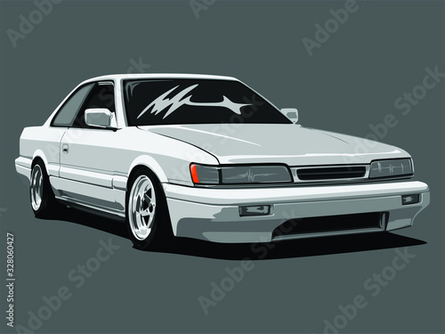 Photo detailed body and rims of a flat colored car cartoon vector illustration