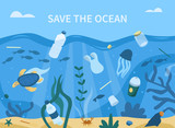 Fototapeta Fototapety z morzem do Twojej sypialni - Plastic Garbage in Sea. Plastic Bottles, Straws, Cups and other Trash Pollute the Water. Animals Swimming near Waste. Ocean Plastic Pollution Concept. Flat Cartoon Vector Illustration.