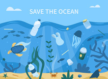 Plastic Garbage In Sea. Plastic Bottles, Straws, Cups And Other Trash Pollute The Water. Animals Swimming Near Waste. Ocean Plastic Pollution Concept. Flat Cartoon Vector Illustration.