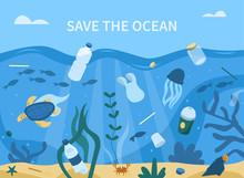 Plastic Garbage In Sea. Plasti...