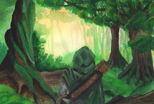 Fantasy Watercolor Drawing Landscape Nature. Mysterious Figure In A Cloak In A Green Forest