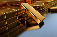 3D Illustration, Gold Bullion ...