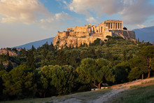 Iconic Parthenon Temple At The Acropolis Of Athens, Greece