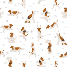 Yoga Dogs Poses And Exercises Poster Design. Smooth Fox Terrier And Wire Fox Terrier Seamless Pattern