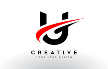 Black And Red Creative U Letter Logo Design With Swoosh Icon Vector.