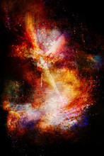 Woman With Sword In Beautiful Cosmic Space.