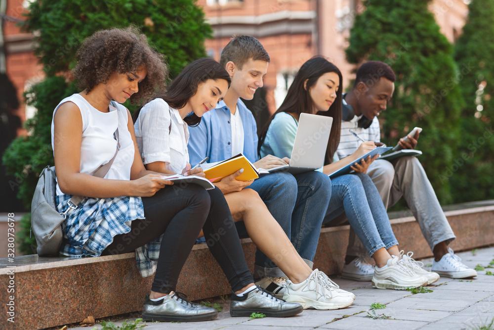Fototapeta Focused students preparing for exams outdoors in the university courtyard