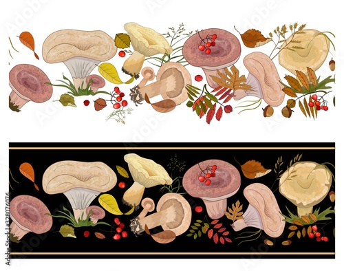 Horizontal seamless border with agaric mushrooms and autumn leaves on a white and black background Wallpaper Mural