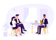 Lawyer Discussing With Clients, Judge Consultation, Legal Advice. Vector Illustration