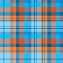 Seamless Pattern In Marvelous Cozy Blue And Orange For Plaid, Fabric, Textile, Clothes, Tablecloth And Other Things. Vector Image.