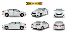 Car White Isolate On The Background. Ready To Apply To Your Design. Vector Illustration.