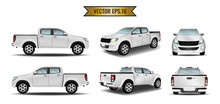 Set Cars White Realistic Isolate On The Background. Ready To Apply To Your Design. Vector Illustration.