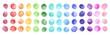 canvas print picture - Watercolor circle shape stains, smears, strokes collection. Colorful watercolour round paint spots set, uneven dots illustration, design elements. Brush drawn dot pattern,  background. Rainbow colors.