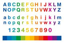 Rainbow Colored Alphabet And N...