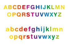 Rainbow Colored Alphabet, Upper And Lower Case, In A Row. Multi Colored Standard Set Of Letters From A To Z. Isolated Illustration On White Background. Vector.
