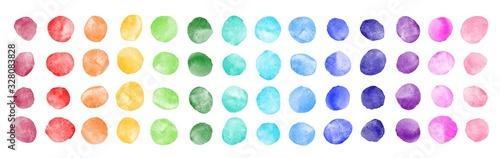 Fototapeta Watercolor circle shape stains, smears, strokes collection. Colorful watercolour round paint spots set, uneven dots illustration, design elements. Brush drawn dot pattern,  background. Rainbow colors. obraz