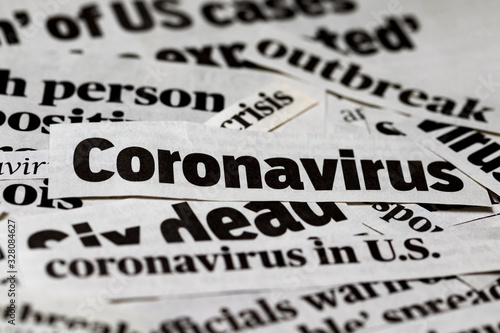 Coronavirus, covid-19 newspaper headline clippings Wallpaper Mural