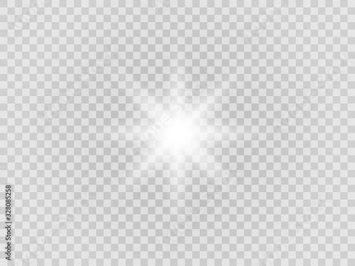 Fototapeta Vector png glowing light effect. Shine, glare, flare, flash illustration. White star on transparent obraz