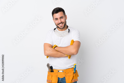 Craftsmen or electrician man over isolated white background laughing Wallpaper Mural