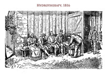 Healthcare And Medicine: Hydrotherapy, Pain Relief With Water, Illustration Of Year 1816