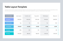 Modern Business Table Layout Template With Place For Your Content. Flat Design, Easy To Use For Your Website Or Presentation.