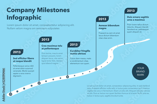 Fototapeta Modern business infographic for curved road map timeline template with pointers - blue version. Easy to use for your website or presentation. obraz